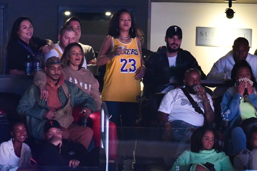 Rihanna and Hassan Jameel at a Lakers Game