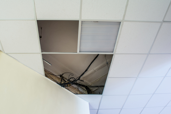 a suspended ceiling in a building