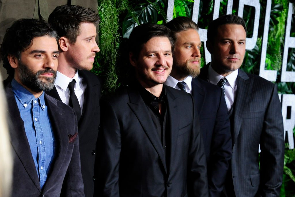 Oscar Isaac, Garrett Hedlund, Pedro Pascal, Charlie Hunnam, and Ben Affleck in suits