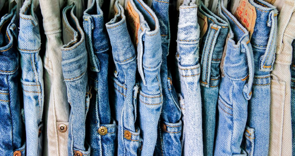 A rack of jeans