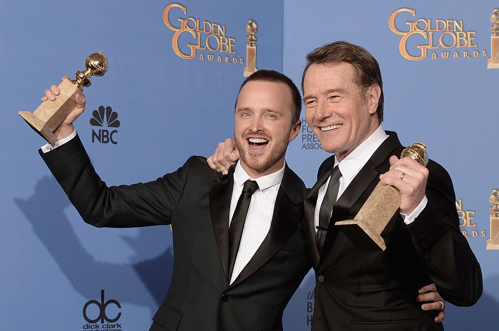 Actors Aaron Paul and Bryan Cranston celebrate their Emmys for Breaking Bad.
