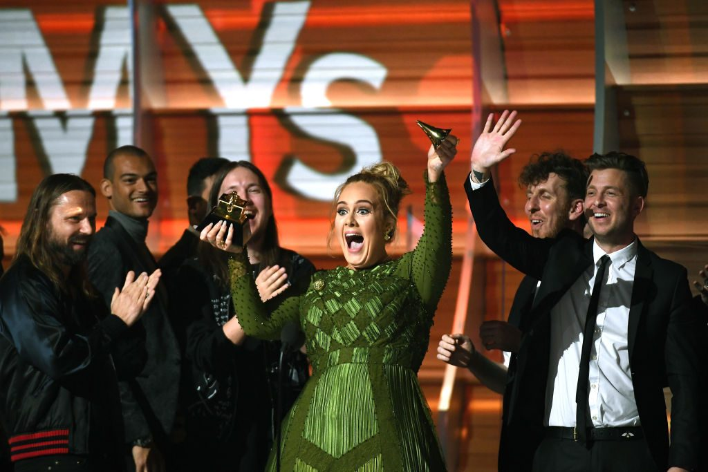 Singer Adele at the 2017 GRAMMY Awards