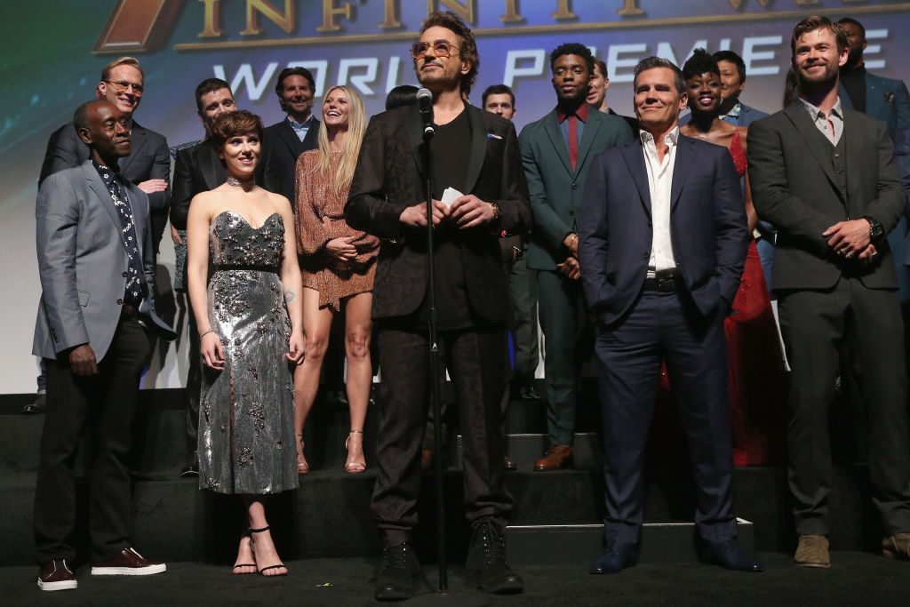 Actor Robert Downey Jr. and cast and crew of 'Avengers: Infinity War'