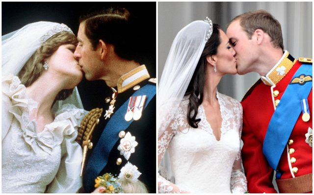 Princess Diana and Prince Charles kissing on Buckingham Palace balcony side by side comparison to Prince William and Kate Middleton kissing on same balcony.