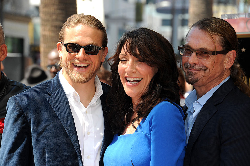 Charlie Hunnam, actress Katey Sagal and husband Kurt Sutter at Katey Sagal's Star Ceremony on the Hollywood Walk Of Fame on September 9, 2014