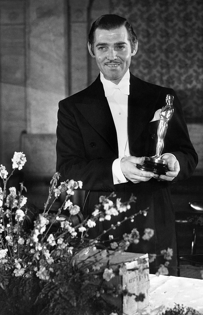 Clark Gable with his Oscar for 'It Happened One Night'