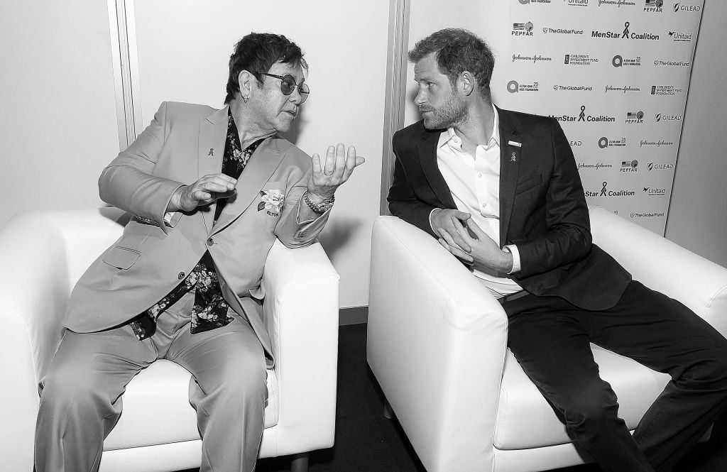 Elton John and Prince Harry | Michael Kovac/Getty Images for EJAF