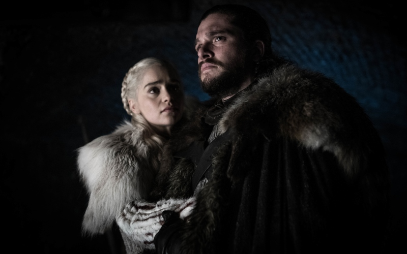 Emilia Clarke as Daenerys Targaryen and Kit Harington as Jon Snow