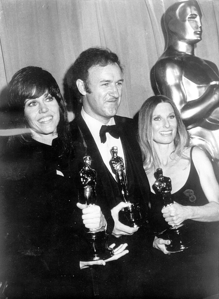 Gene Hackman holding his Oscar for Best Actor in 'The French Connection'