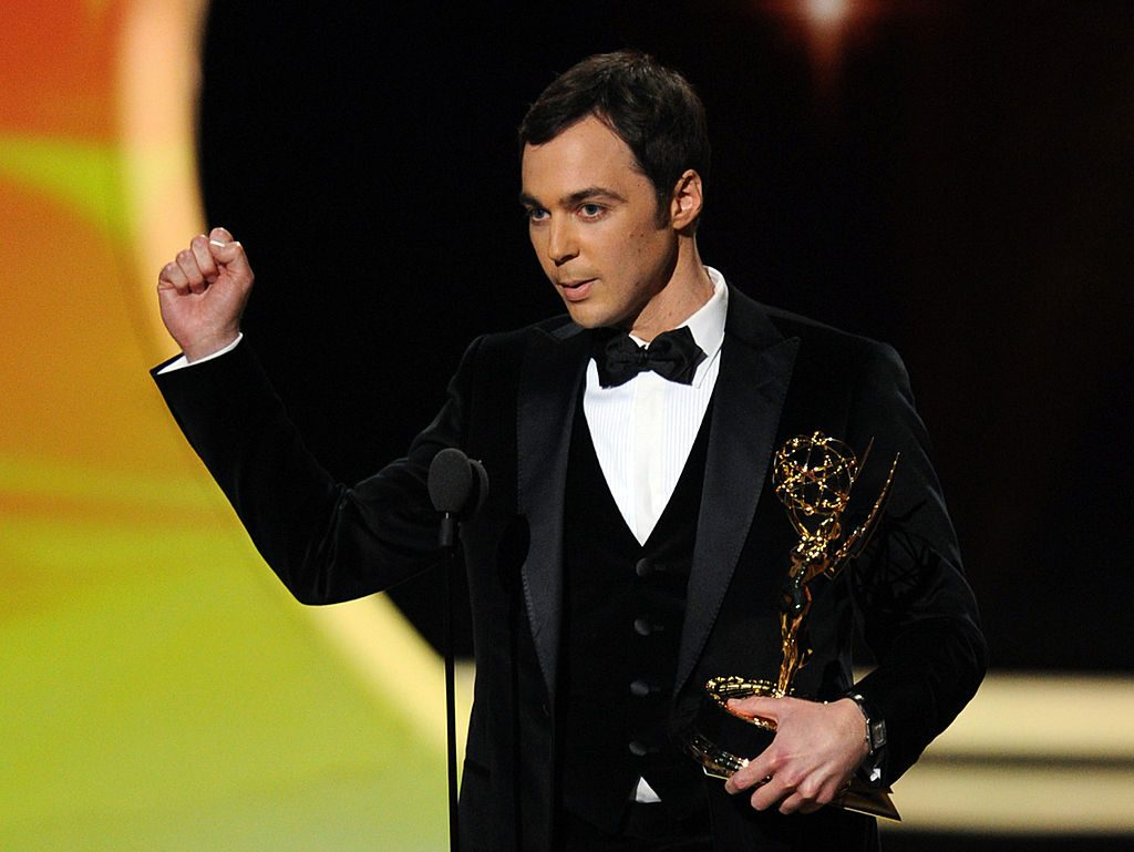 Jim Parsons accepts his Emmy Award for Best Actor in a Comedy Series