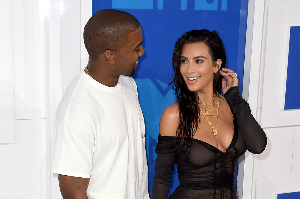 Kanye West and Kim Kardashian at MTV Video Music Awards in 2016.