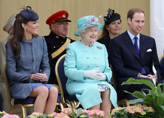 Kate Middleton, Queen Elizabeth II, and Prince William.