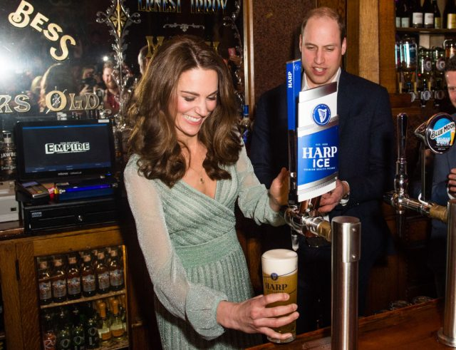 Kate Middleton and Prince William pouring beer.