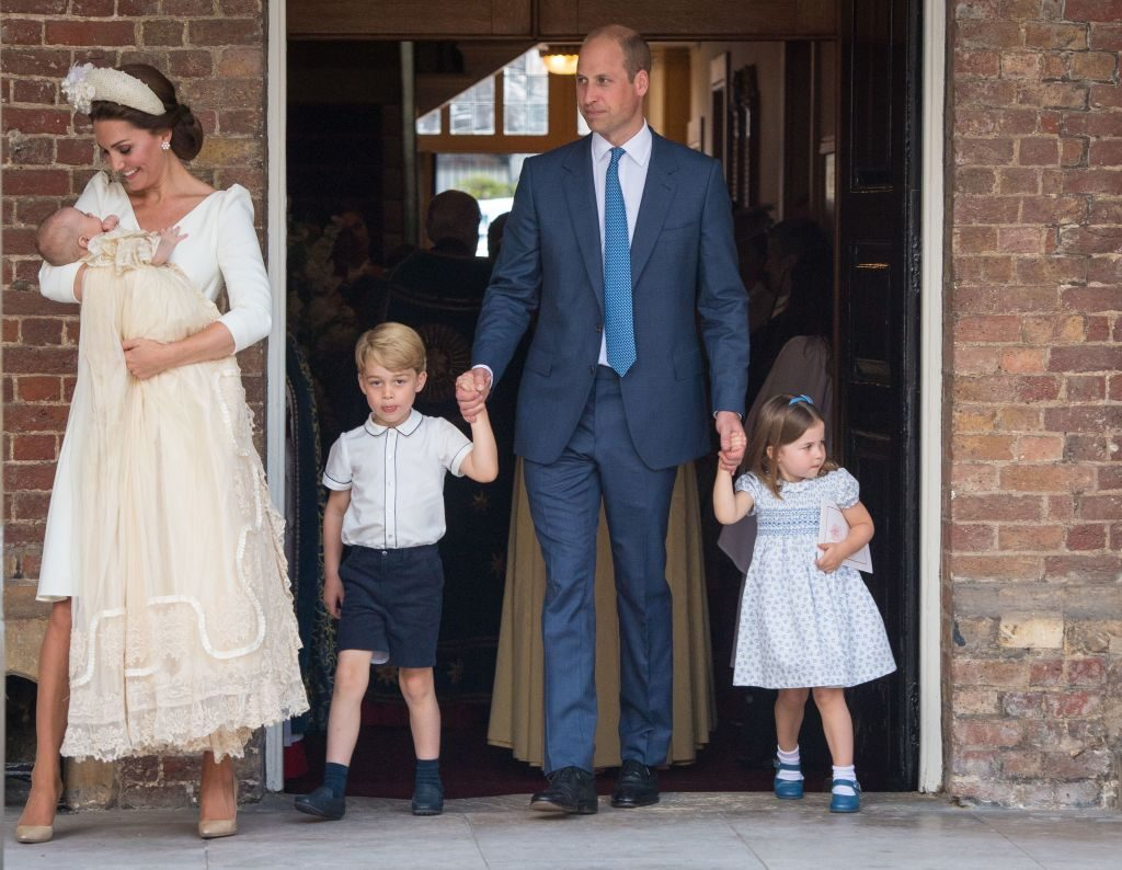 Kate Middleton and Prince William with their children Prince George, Princess Charlotte, and Prince Louis