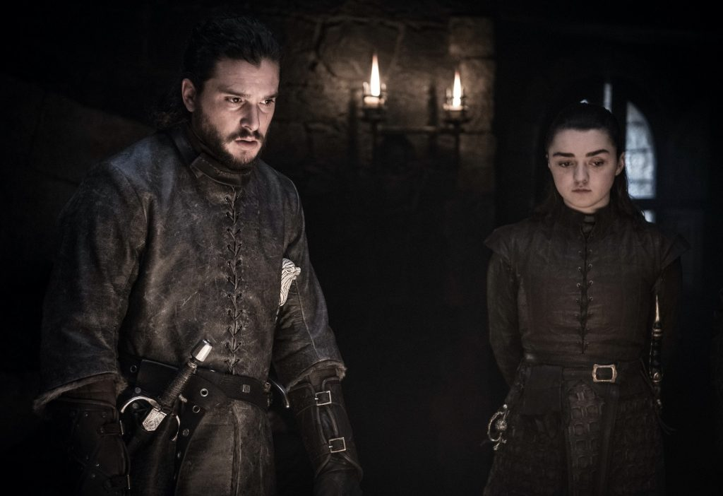 "Kit Harington and Maisie Williams on ""Game of Thrones"""