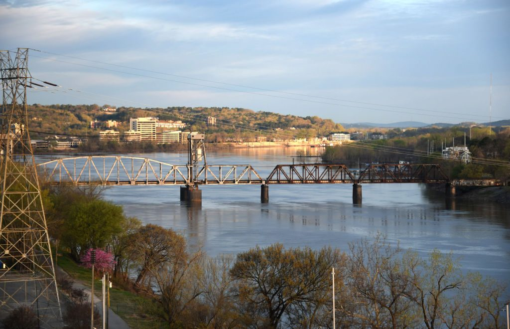 A river and bridge in Little Rock
