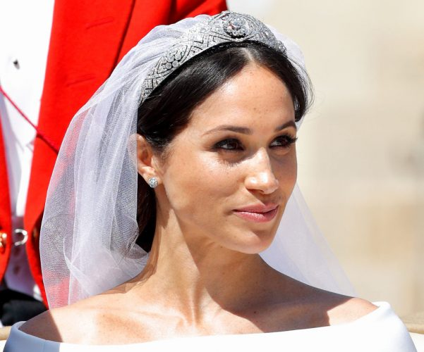 Meghan Markle on wedding day, close up of jewelry.