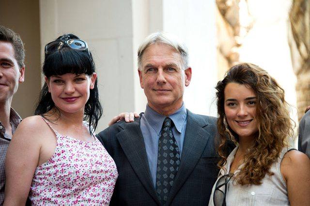 Pauley Perrette, Mark Harmon, and Cote de Pablo from 'NCIS.'