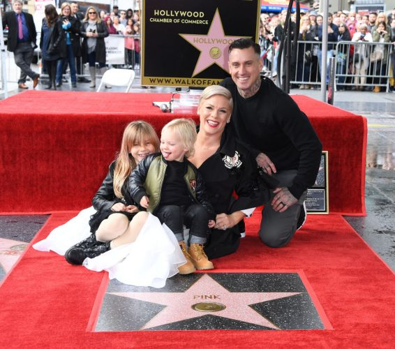 Pink with husband, Carey Hart and children Willow and Jameson.