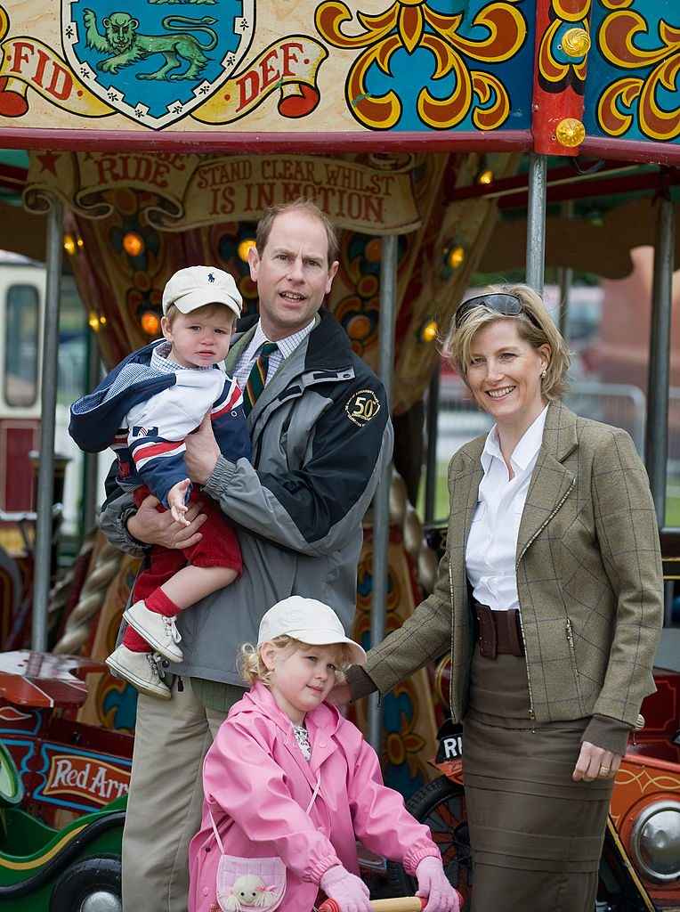 Prince Edward and Sophie, Countess of Wessex with children James, Viscount Severn and Lady Louise Windsor