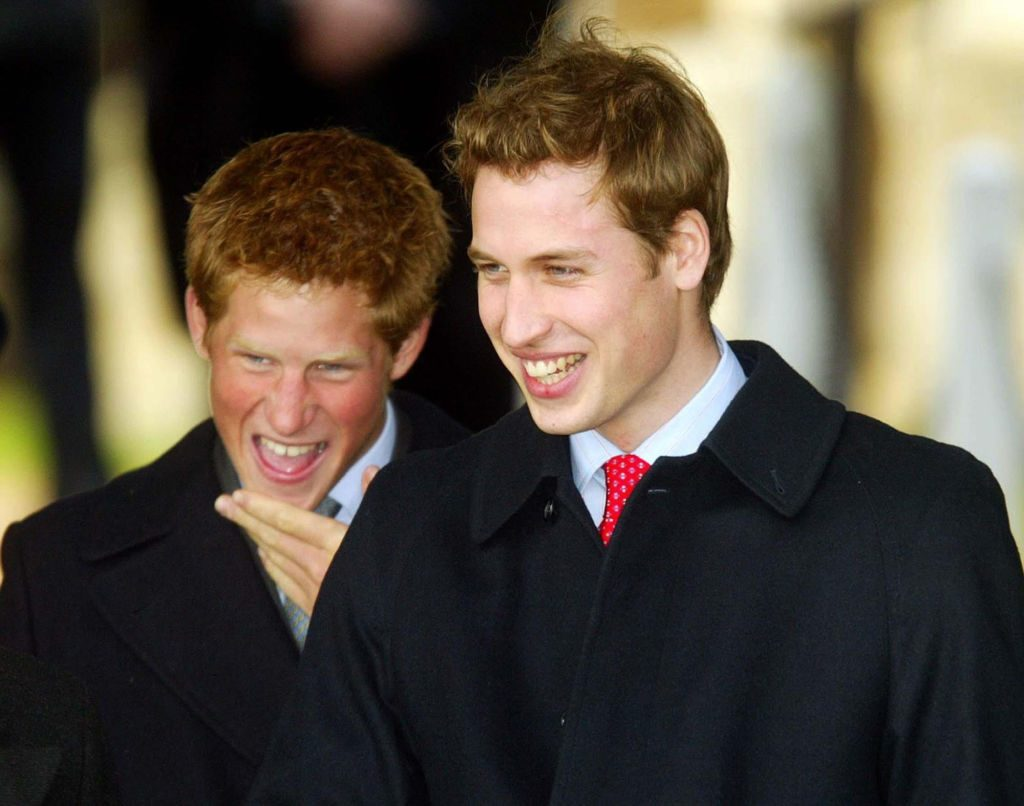 Prince Harry and Prince William when they were younger smiling together