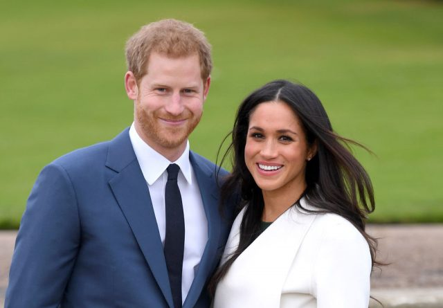 Prince Harry and Meghan Markle at engagement photocall.