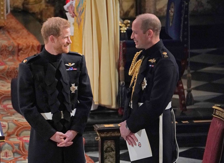 Prince William and Prince Harry at Prince Harry's wedding to Meghan Markle