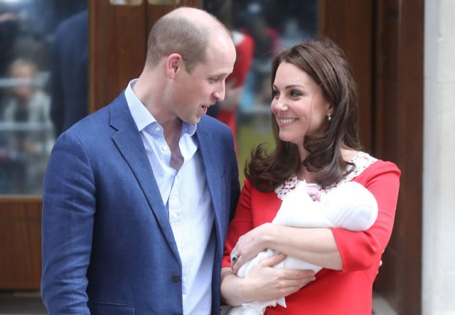 Prince William, Kate Middleton, and Prince Louis.