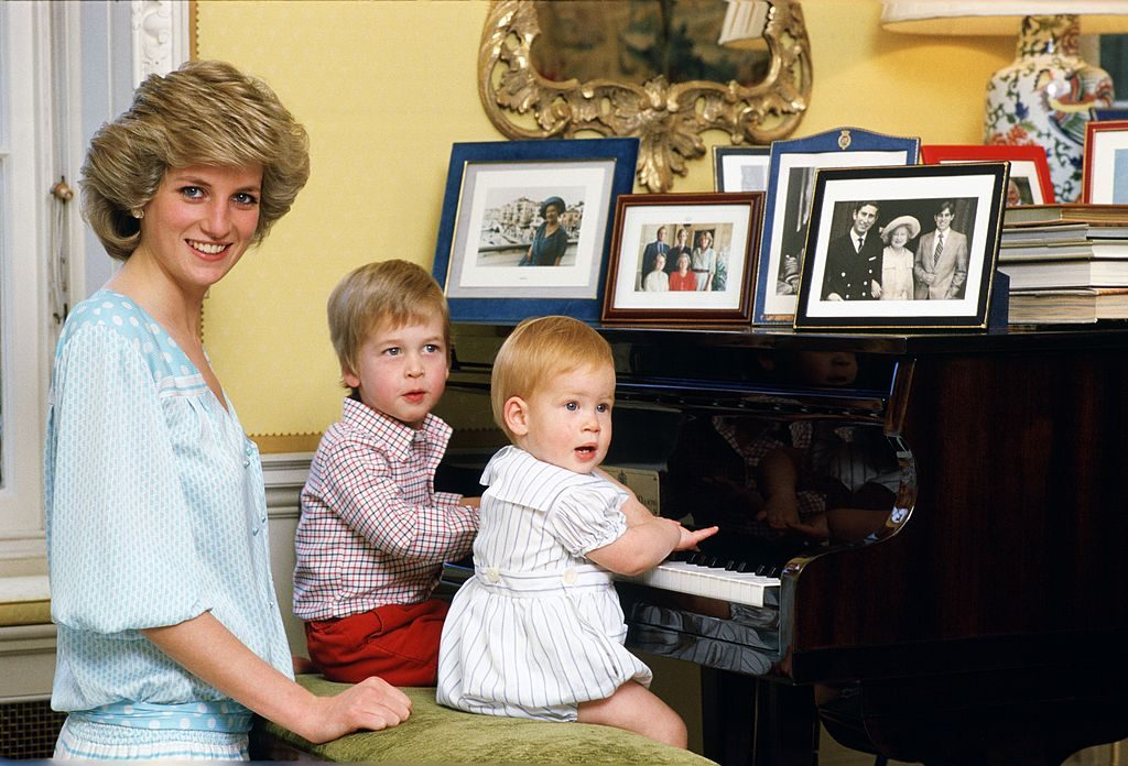 Princess Diana with her sons, Prince William and Prince Harry