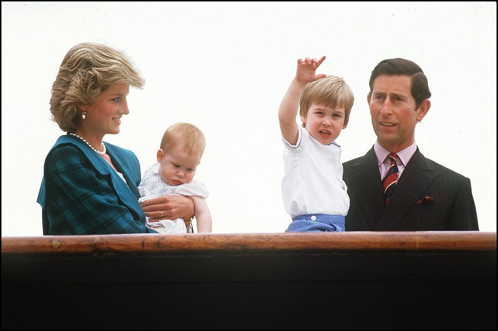 Princess Diana and Prince Charles with Princes William and Harry