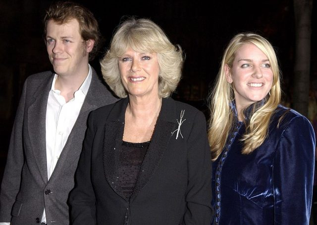 Camilla Parker Bowles with daughter, Laura, and son, Tom.