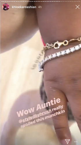 True Thompson's diamond bracelet received as a gift from Hrush Achemyan on her first birthday.