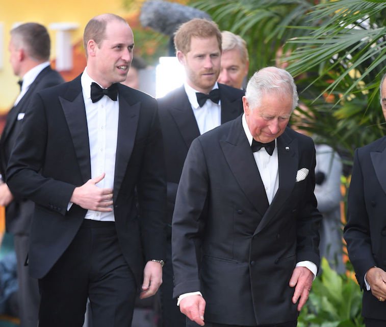 Prince William and Prince Harry with Prince Charles