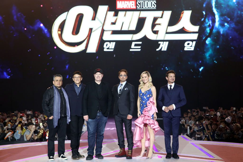 Joe Russo, Anthony Russo, Kevin Feige, Robert Downey Jr., Brie Larson and Jeremy Renner Marvel Studios' 'Avengers: Endgame' South Korea Premiere - Fan Event In Seoul