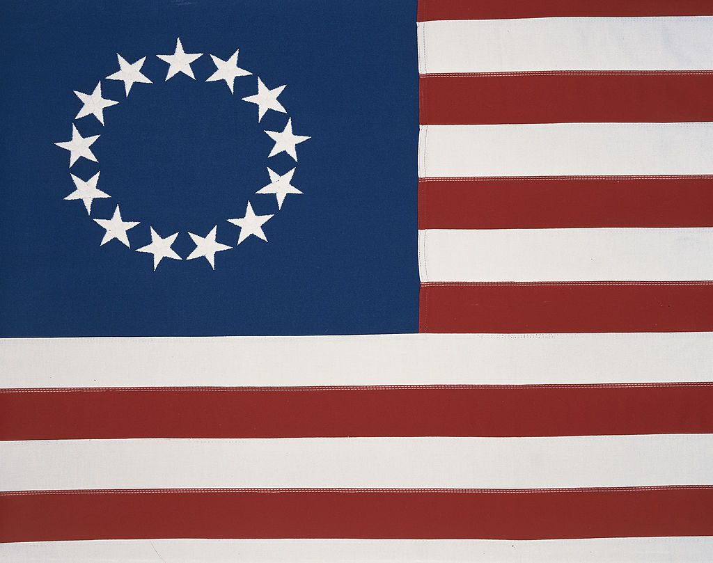 The first version of the U.S. flag