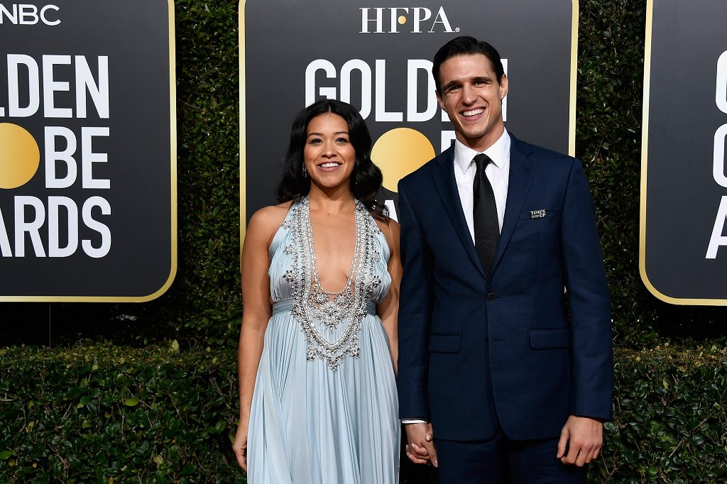 Gina Rodriguez and Joe LoCicero at the 76th Annual Golden Globe Awards