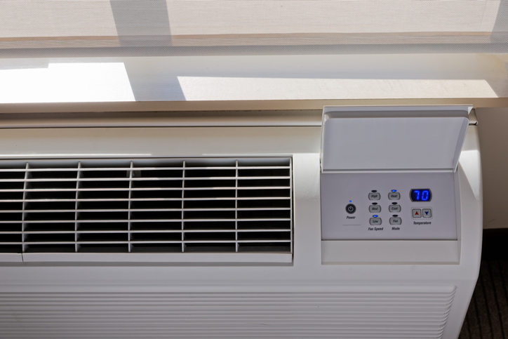 In-room air conditioner in a hotel