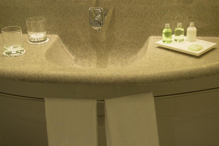 Bathroom sink in a hotel