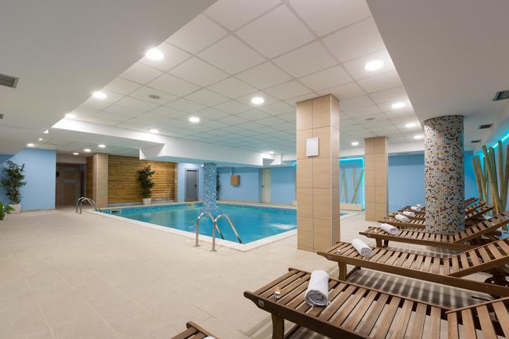 Indoor pool in hotel spa