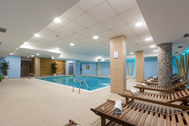 Indoor pool in hotel spa