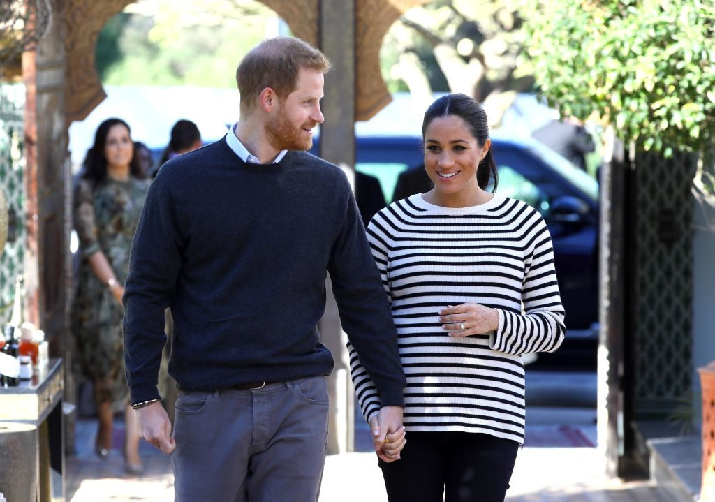 Prince Harry and Meghan Markle arrive for a cooking demonstration, where children from under-privileged backgrounds learn traditional Moroccan recipes from one of Morocco's foremost chefs at the Villa des Ambassadors