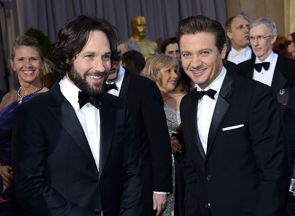 Paul Rudd and Jeremy Renner arrive at the Oscars at Hollywood & Highland Center on February 24, 2013