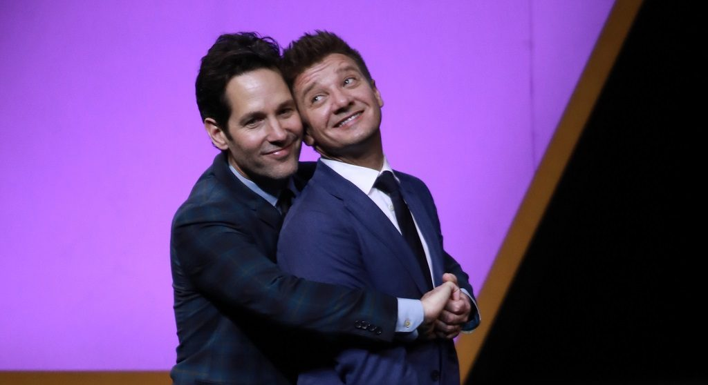 Actors Paul Rudd (L) and Jeremy Renner attend 'Avengers: Endgame' premiere at Shanghai Oriental Sports Center on April 18, 2019, in Shanghai, China.