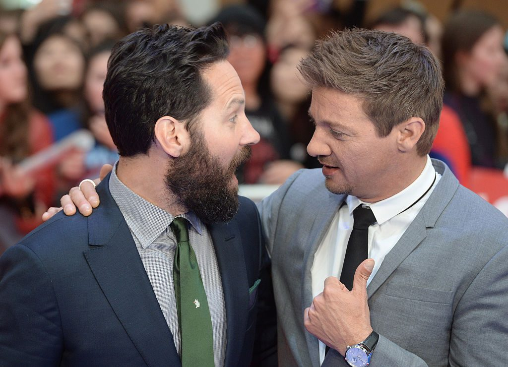 Jeremy Renner and Paul Rudd attend the premiere of Captain America: Civil War