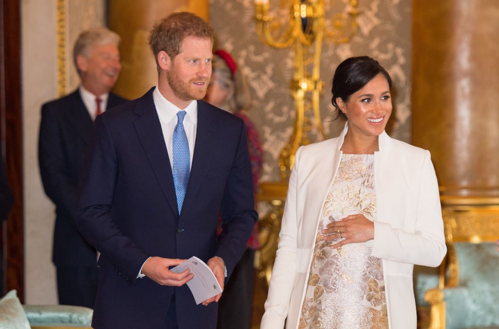 Prince Harry and Meghan Markle at reception to mark the Fiftieth Anniversary of the investiture of Britain's Prince Charles.
