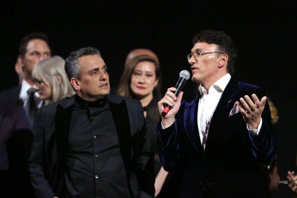 Directors Joe Russo and Anthony Russo speak onstage during the World Premiere of Marvel Studios' Avengers: Endgame on April 23, 2019.