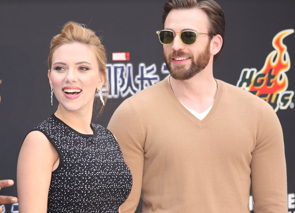 Scarlett Johansson and Chris Evans at Captain America: The Winter Soldier Beijing Premiere