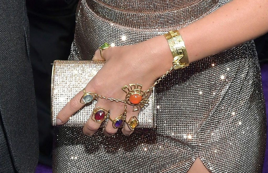 Scarlett Johansson, jewelry detail, attends the world premiere of Avengers: Endgame at the Los Angeles Convention Center on April 22, 2019