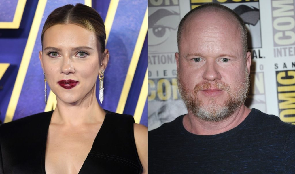 composite image of Scarlett Johansson and Joss Whedon