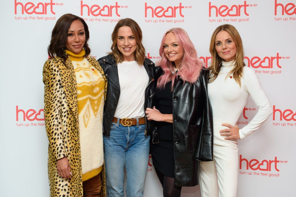 Spice Girls Melanie Brown, Melanie Chisholm, Geri Horner and Emma Bunton on the Heart Breakfast show